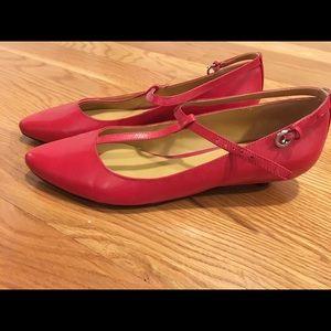 Nine West T-strap red leather kitten heels